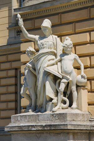 allegorical: Allegorical sculpture composition Education on facade of Ivan Franko National University main building. Lviv, Ukraine