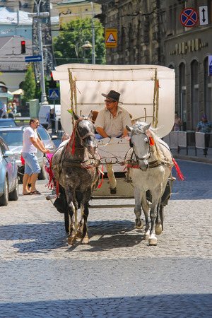 the coachman: Lviv, Ukraine - July 5, 2014: Tourist brougham with people on the streets in historic city center Editorial