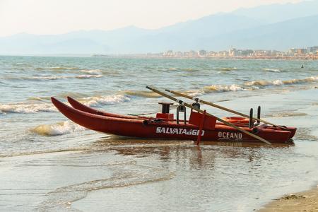 viareggio: Viareggio, Italy - June 28, 2015: Catamaran on the beach. Viareggio is the famous resort on the coast of the Ligurian Sea