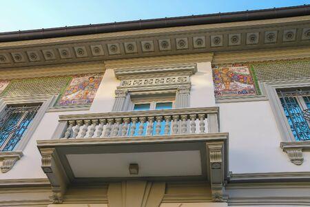 viareggio: Viareggio, Italy - June 28, 2015: Facade with fresco of old-style design house in city centre. Viareggio is the famous resort on the coast of the Ligurian Sea Editorial