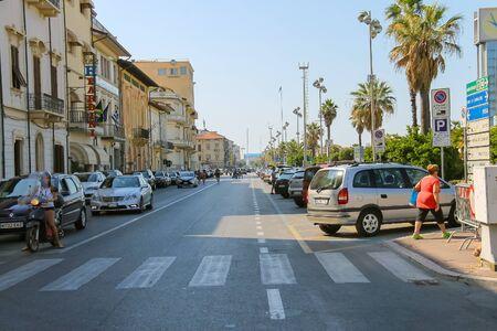 viareggio: Viareggio, Italy - June 28, 2015: People on a pedestrian crossing. Province Lucca, Tuscany region of Italy