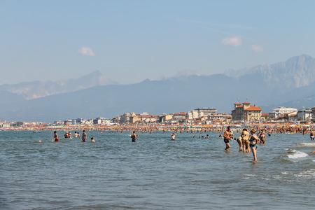 viareggio: Viareggio, Italy - June 28, 2015: People resting on the beach. Viareggio is the famous resort on the coast of the Ligurian Sea