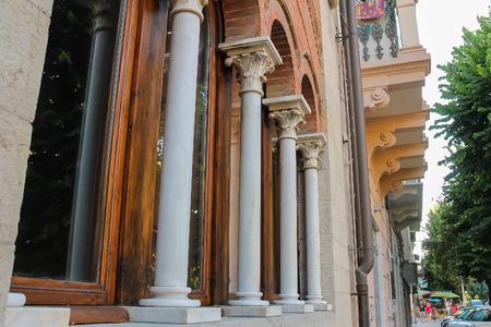 viareggio: Viareggio, Italy - June 28, 2015: Old building with vintage column in the city center. Viareggio is the famous resort on the coast of the Ligurian Sea Editorial