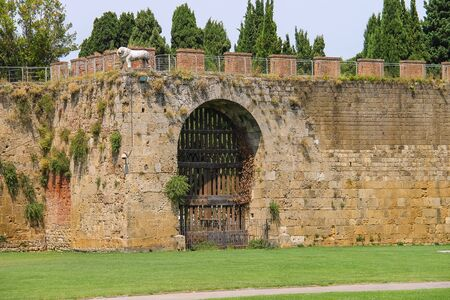fortified wall: Antique fortified wall and gate with statue of lion. Pisa, Italy