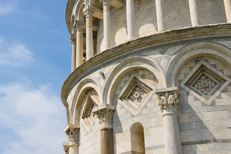 miracle square: Part of bell tower of the Cathedral (Leaning Tower of Pisa). Italy Stock Photo