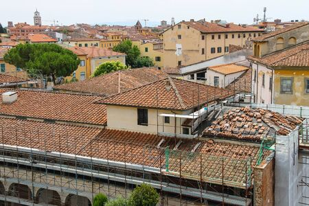 leaning tower of pisa: View of the old city from the Leaning Tower. Pisa, Italy Stock Photo