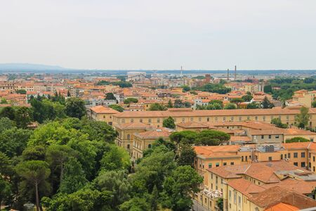 leaning tower of pisa: View of the old city from the Leaning Tower. Pisa, Tuscany region of Italy Stock Photo