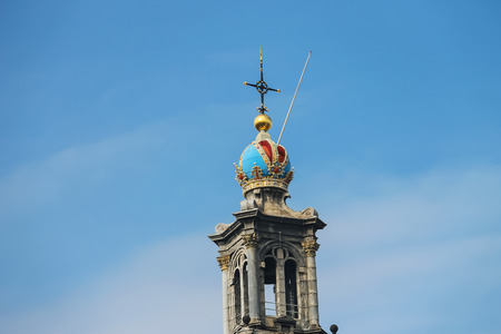 crown spire: Tower of the famous Western church (Westerkerk) in Amsterdam, the Netherlands