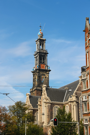 Tower of the famous Western church (Westerkerk) in Amsterdam, the Netherlands