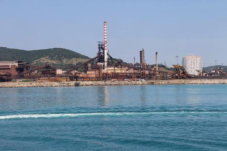 Industrial area on the coast of Tyrrhenian Sea, Piombino, Italy