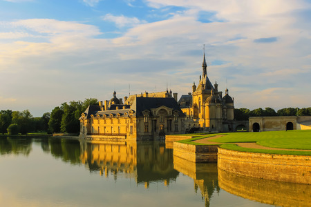 Famous Chateau de Chantilly (Chantilly Castle). Oise, France