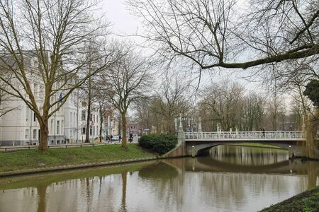 Utrecht, the Netherlands - February 13, 2016: Famous Oudegracht canal in in historic city centre