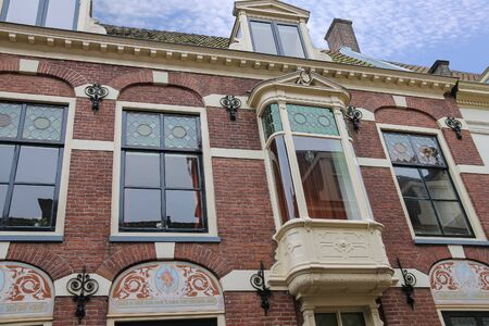 decorative balcony: Old building in historic centre of Utrecht, the Netherlands