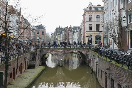 Utrecht, the Netherlands - February 13, 2016: Famous Oudegracht canal in historic city centre