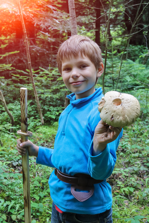 sheath: Smiling boy in forest with large mushroom in his hand