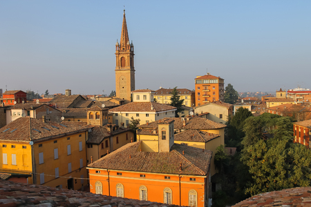 Church Tower in historic city center of Vignola, Italy Stock Photo