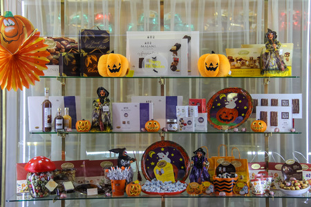 Vignola, Italy - October 30, 2016: Original shop window with sweets in style of Halloween. Emilia-Romagna, Modena