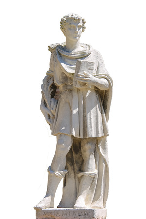 Marble statue of St. Damian in Grazzano Visconti, Italy. On white background