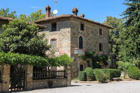 Old building in medieval Grazzano Visconti, Italy Stock Photo