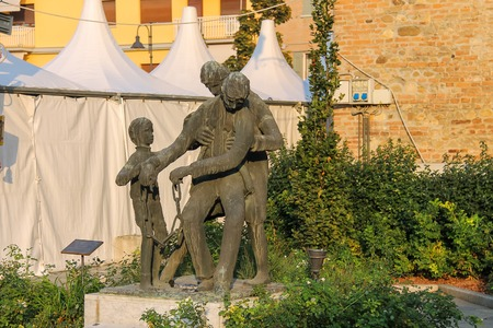 Spilamberto, Italy- October 02, 2016: Bronze monument to heroes of resistance in the Second World War