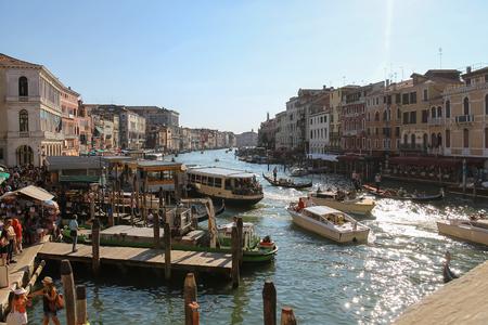 Venice, Italy - August 13, 2016: View of Grand Canal from Rialto Bridge (Ponte di Rialto) Editoriali
