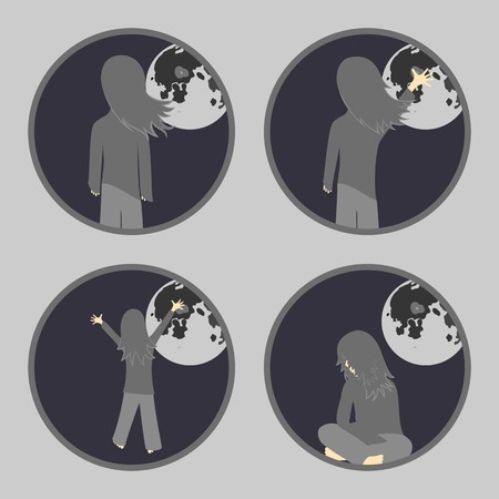 Set of icons on a theme girl and the moon Illustration