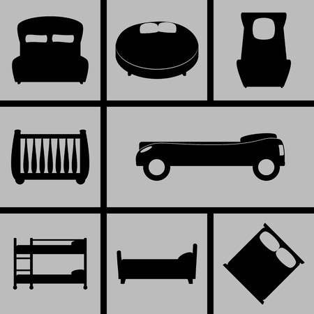 bunk bed: Set of Icons on a heme beds