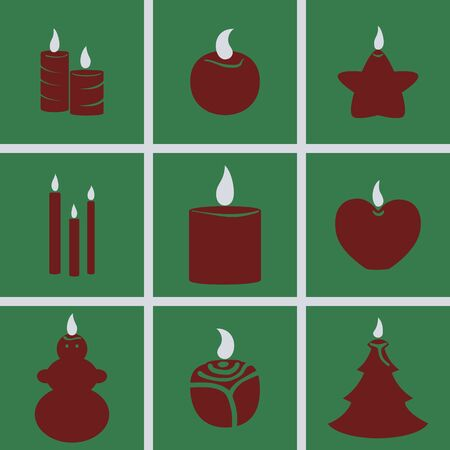 paraffin: Set of icons on a theme Candles