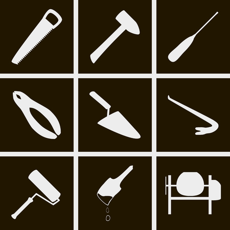 crowbar: Set of icons on a theme of construction tools Illustration