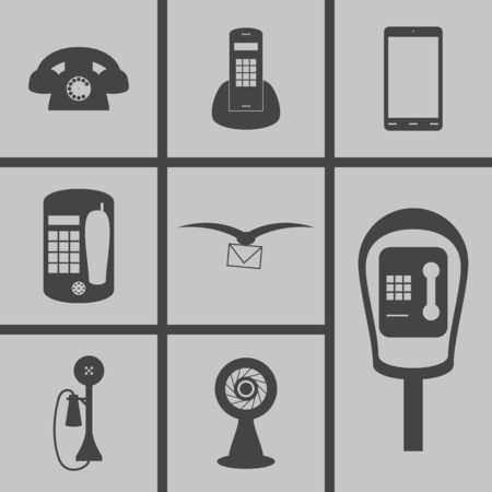 payphone: Set of icons on a theme communication Illustration