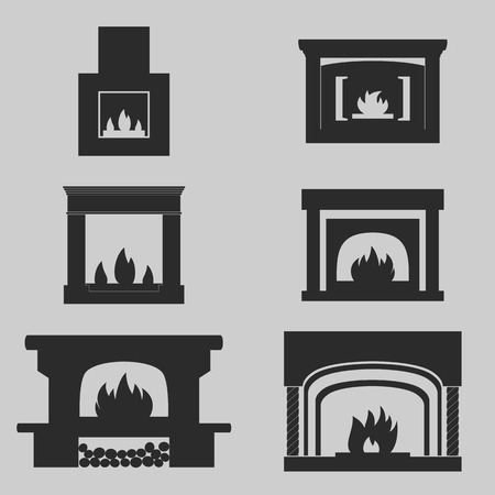 fireplace: Set of icons on a theme fireplaces