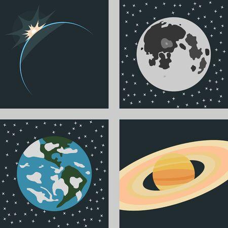 astronautics: set of icons on a theme space