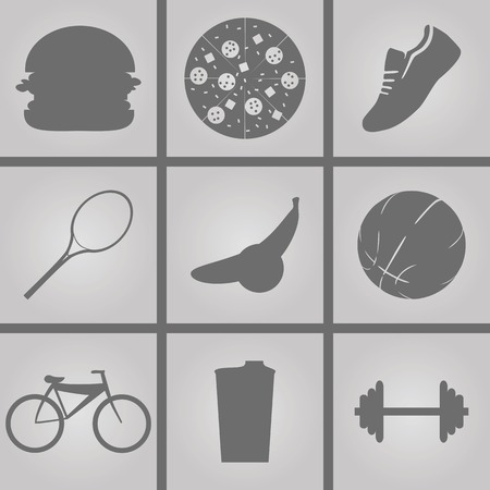 malnutrition: Set of Icons on a theme sport Illustration