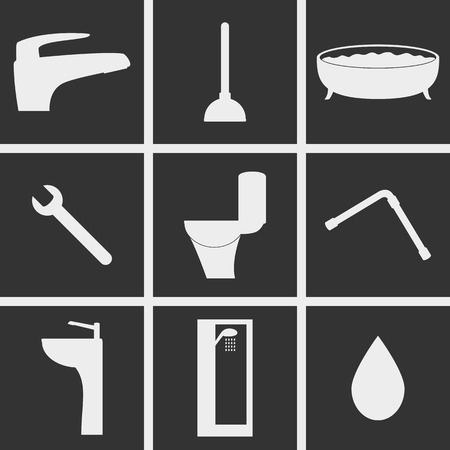 sanitary engineering: Set of icons on a theme Sanitary engineering Illustration
