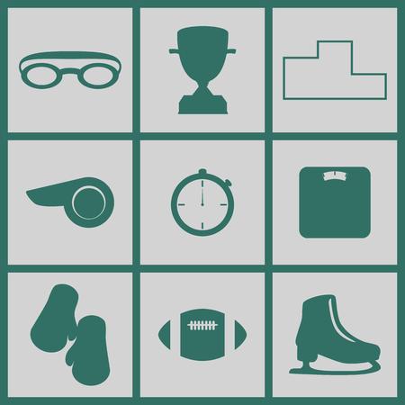 balance ball: Set of icons on a theme of sport