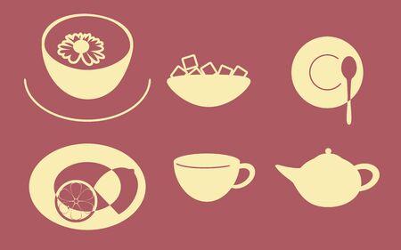 chamomile tea: Set of icons on a theme Tea party