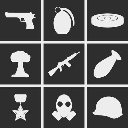 army gas mask: Conjunto de iconos en un tema de la guerra