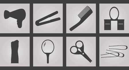 styler: Set of Icons on a theme Tools hairdresser