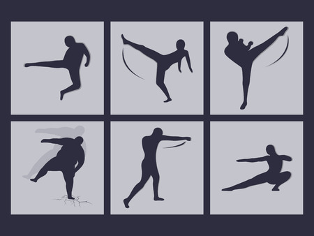 kwon: Set of icons on a theme martials arts