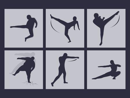 jujitsu: Set of icons on a theme martials arts