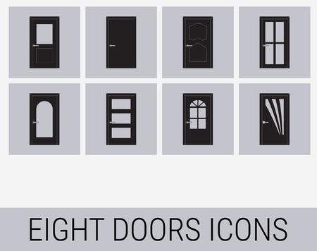 doorknob: Set of icons on a theme doors Illustration