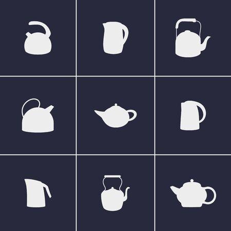 kettles: Conjunto de iconos en una tetera temáticos Vectores