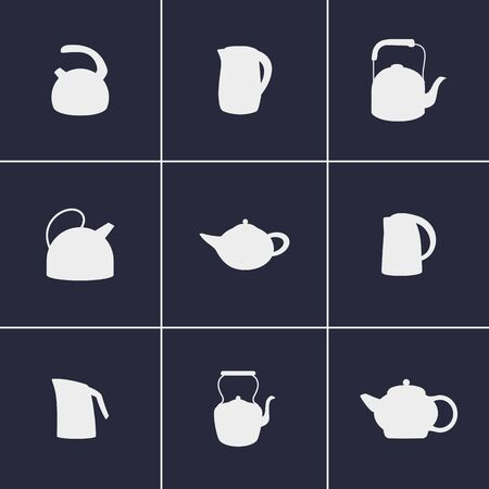 kettles: Set of icons on a theme kettles