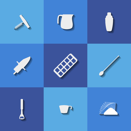 reliever: Set of icons on a theme bar tools Illustration