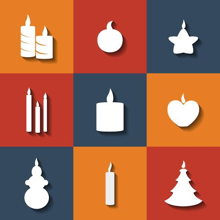 paraffin: Set of flat icons on a theme candles