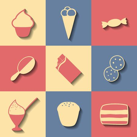 confection: Set of flat icons on a theme confection