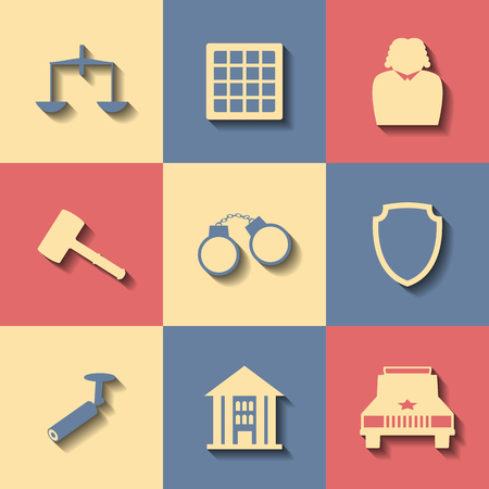 handcuffed: Set of flat icons on a theme court Illustration