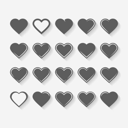Set of icons on a theme hearts isolated with shadow Ilustrace