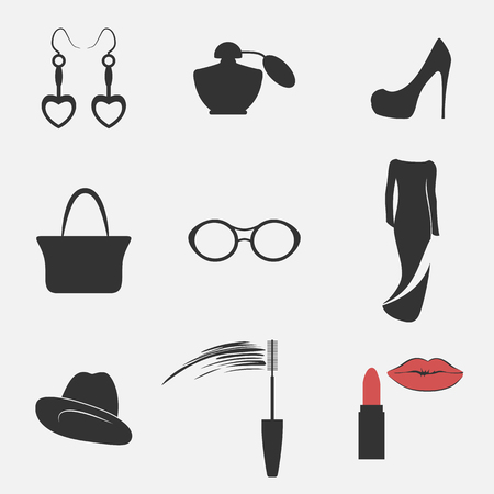 Set of icons on a theme womens accessories