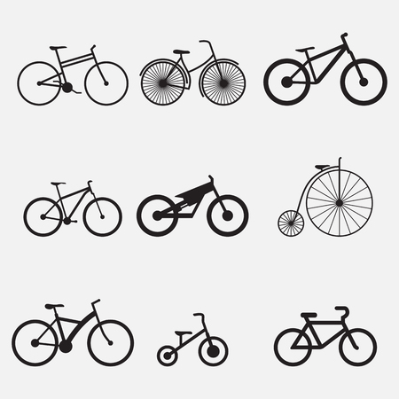 Set of isolated icons on a theme bicycle